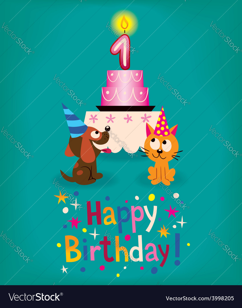 Happy first birthday vector   Price: 1 Credit (USD $1)
