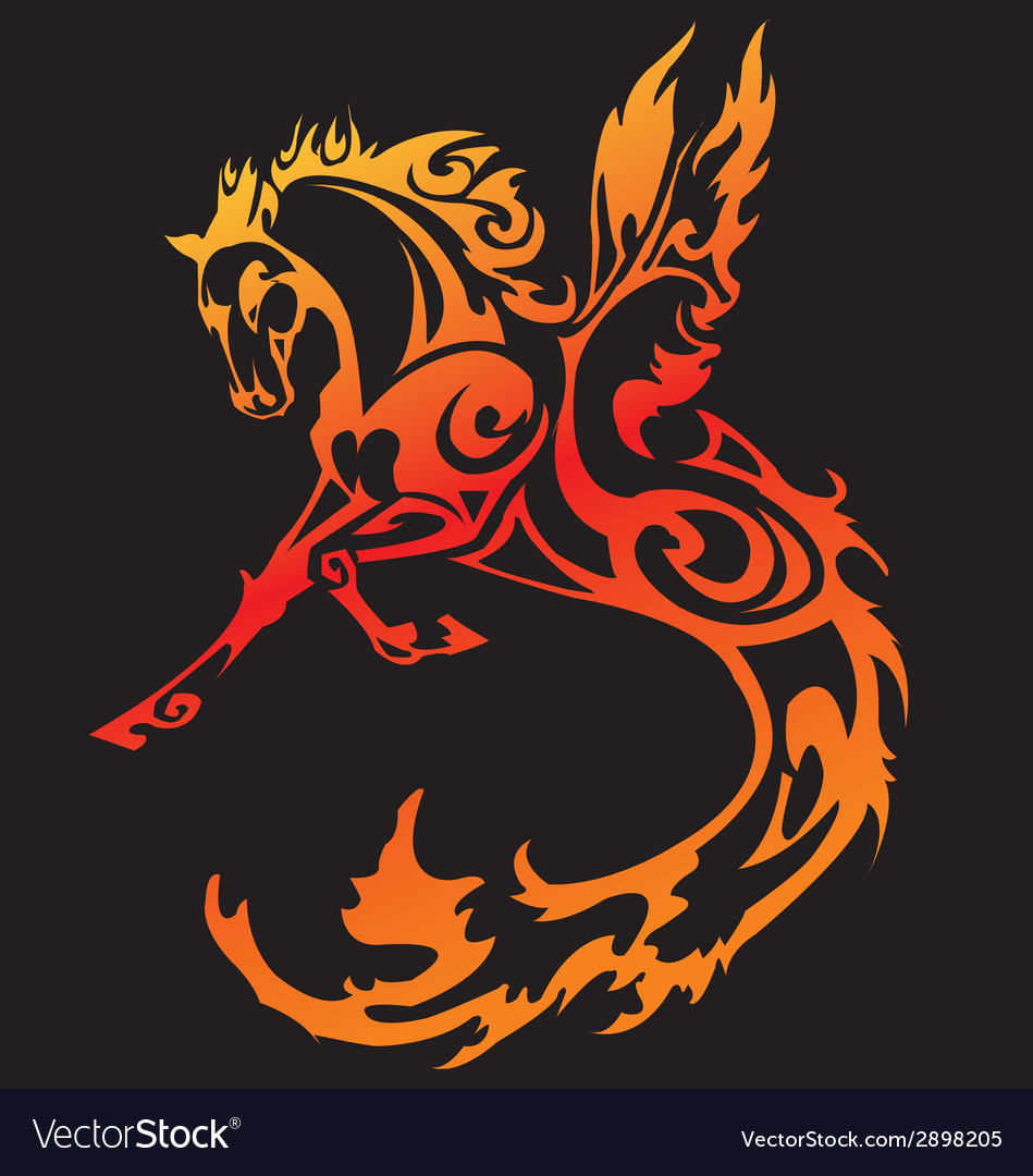 Horse fier tattoo vector | Price: 1 Credit (USD $1)