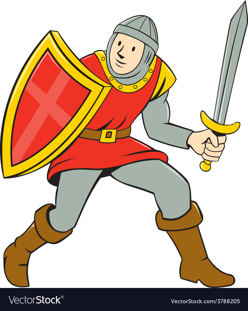 Medieval knight shield sword standing cartoon vector | Price: 1 Credit (USD $1)