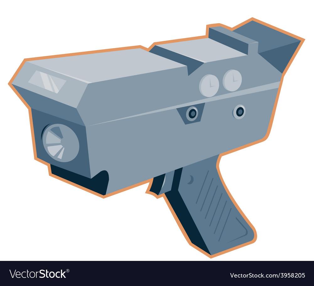 Mobile speed camera radar gun retro vector | Price: 1 Credit (USD $1)