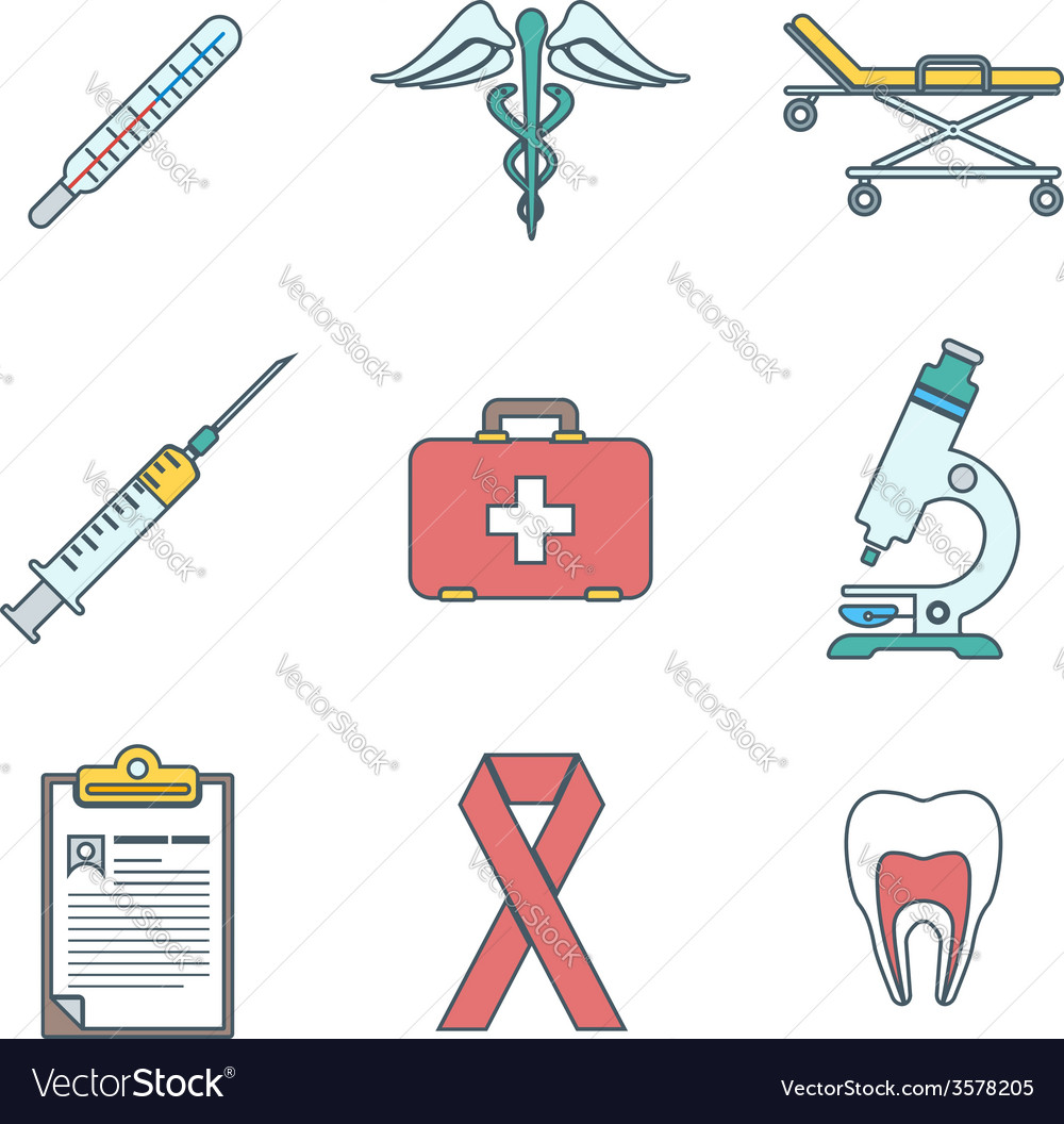 Outline colored medical icons set vector | Price: 1 Credit (USD $1)