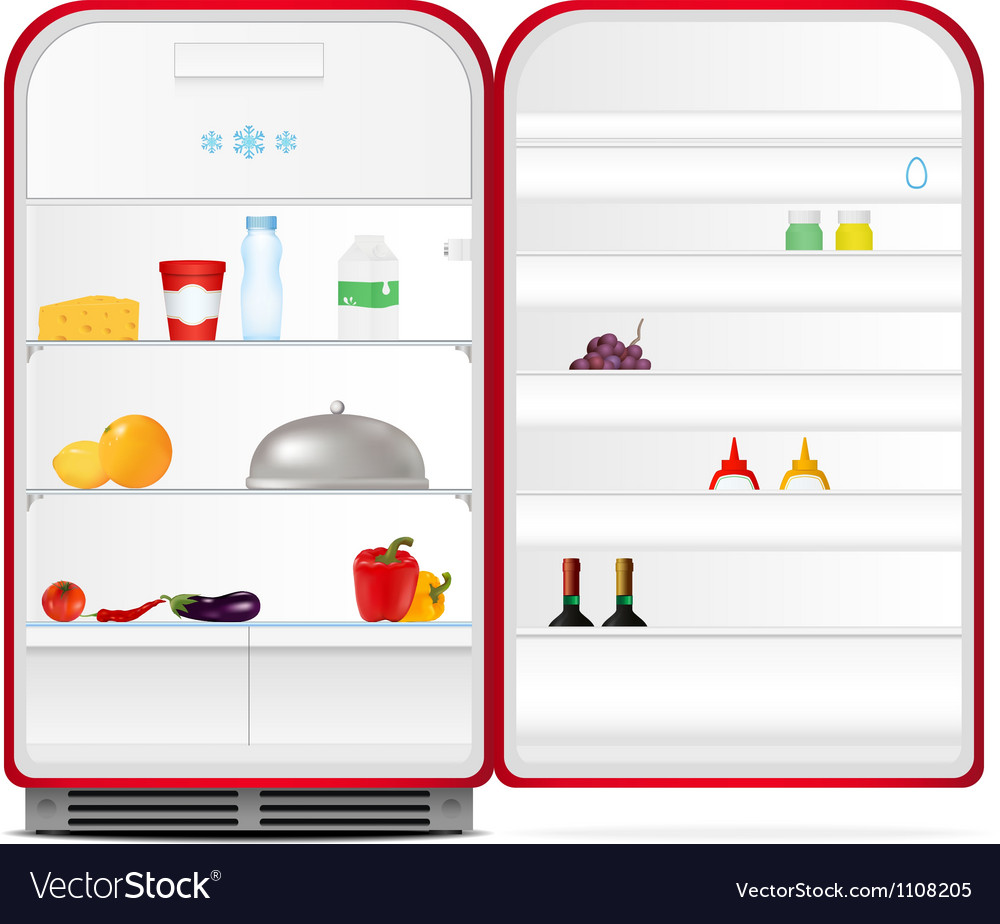 Red retro fridge vector | Price: 1 Credit (USD $1)