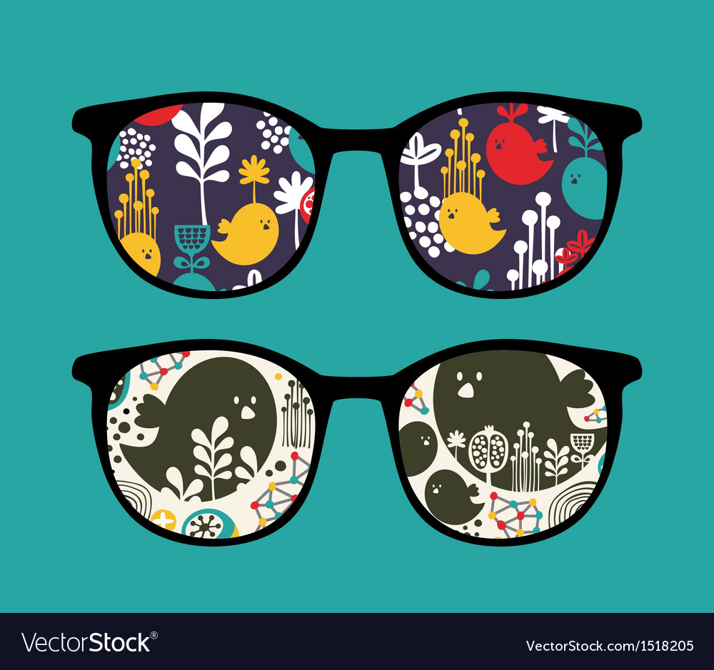 Retro sunglasses with reflection in it vector | Price: 1 Credit (USD $1)
