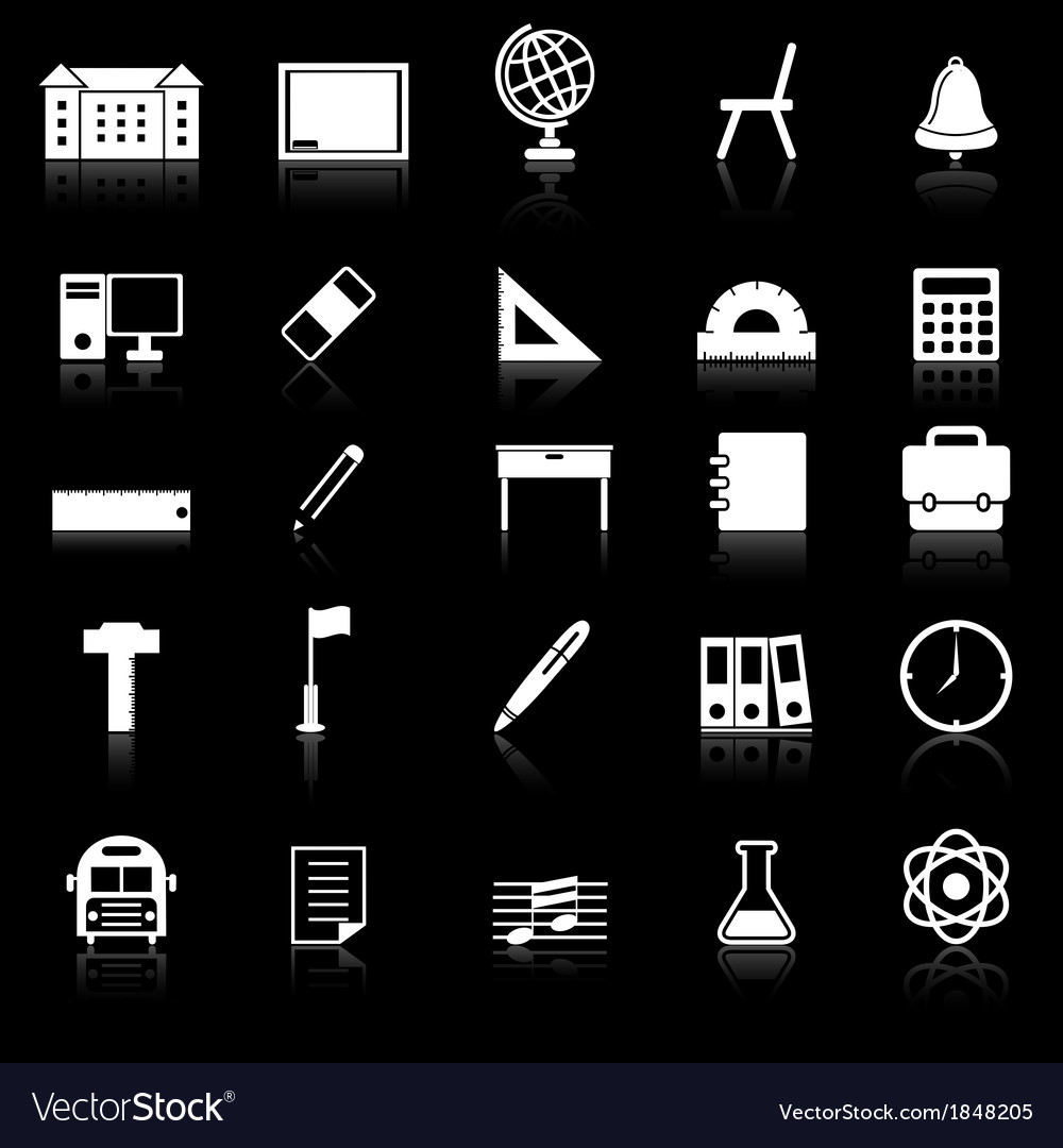 School icons with reflect on black background vector | Price: 1 Credit (USD $1)