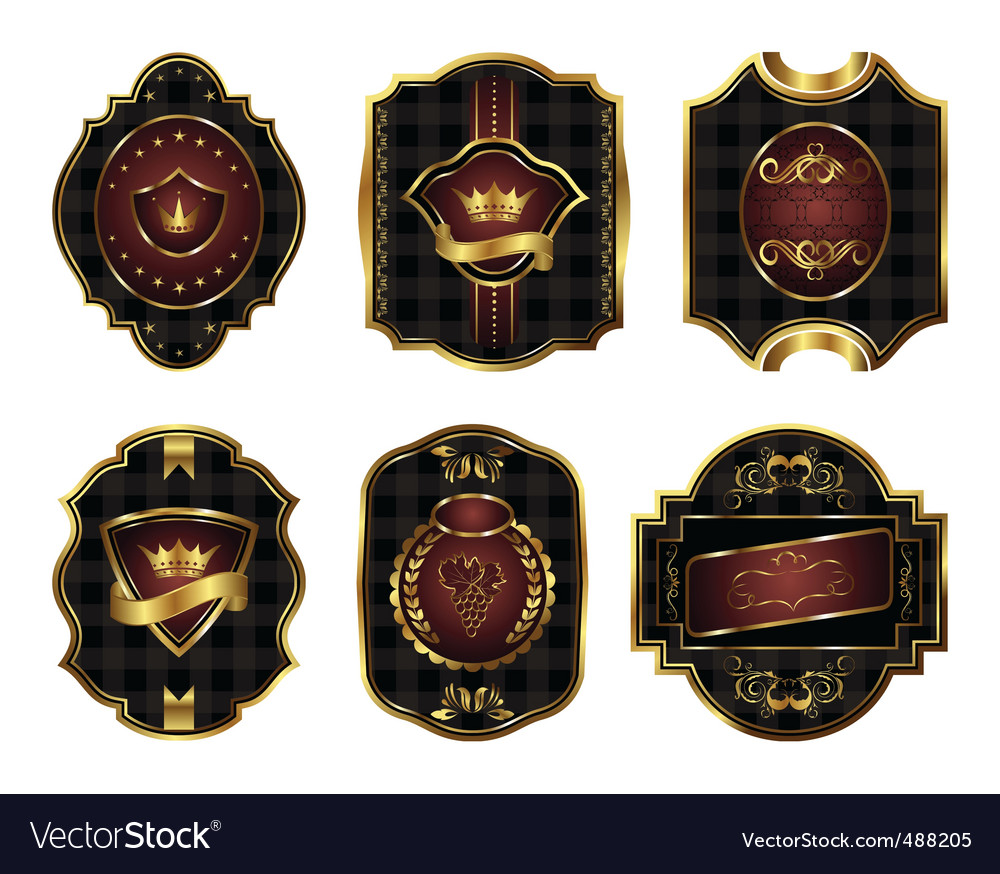 Set black gold framed labels vector | Price: 1 Credit (USD $1)