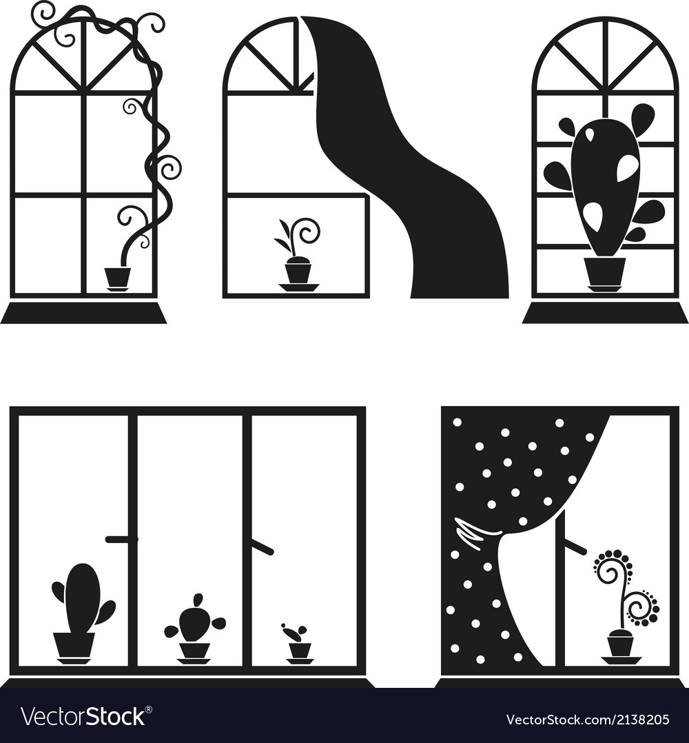 Set of images of windows with flowers vector | Price: 1 Credit (USD $1)
