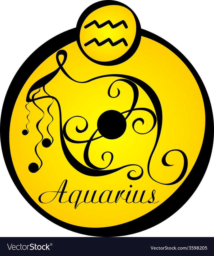 Stylized zodiac signs in a yellow circle aquarius vector | Price: 1 Credit (USD $1)