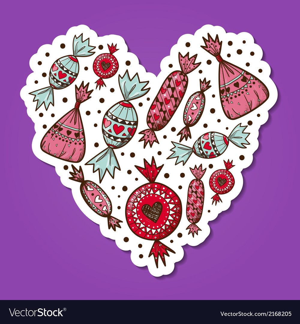 Sweet candies heart vector | Price: 1 Credit (USD $1)