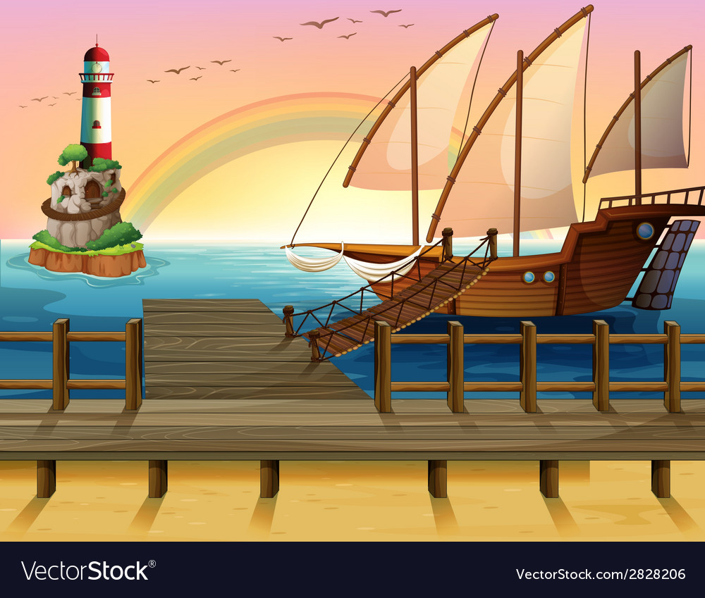 Boat and pier vector | Price: 3 Credit (USD $3)