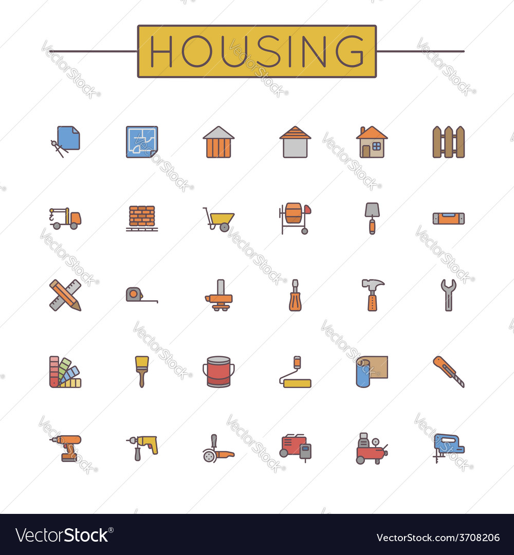 Colored housing line icons vector | Price: 1 Credit (USD $1)