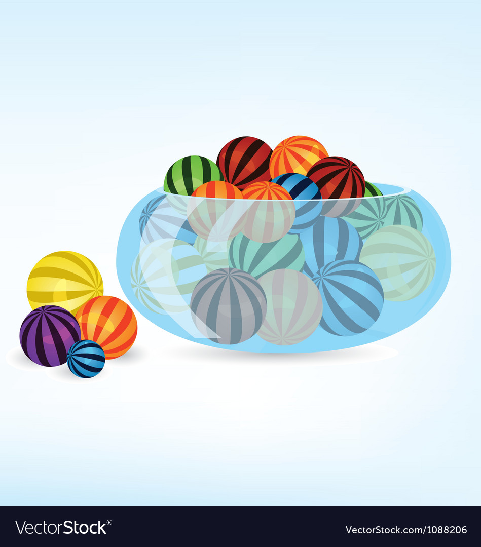 Colorful balls in bowl vector | Price: 1 Credit (USD $1)