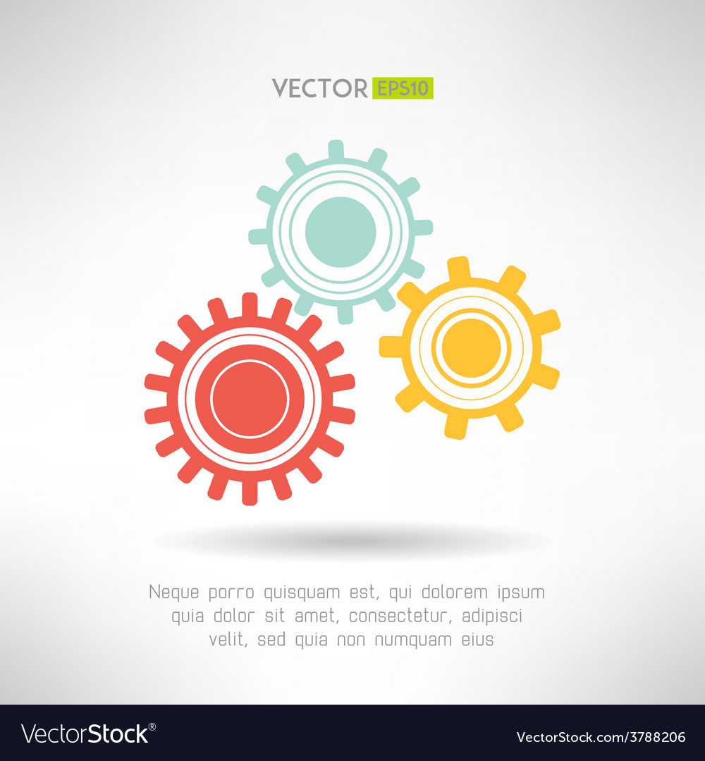 Colorfull gears icons set business teamwork vector | Price: 1 Credit (USD $1)