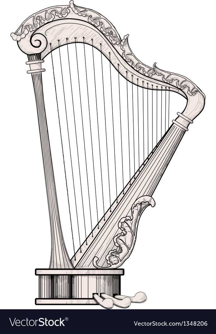 Decorated harp vector | Price: 1 Credit (USD $1)