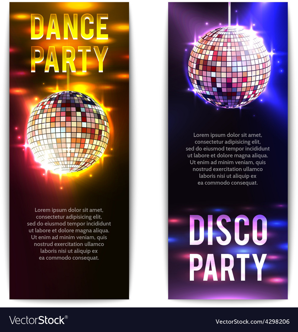 Disco party banners vertical vector | Price: 1 Credit (USD $1)