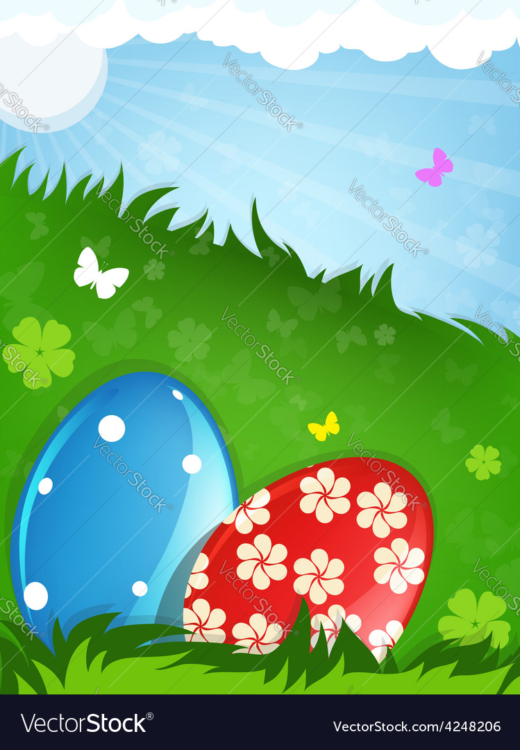 Easter eggs in the meadow vector | Price: 3 Credit (USD $3)