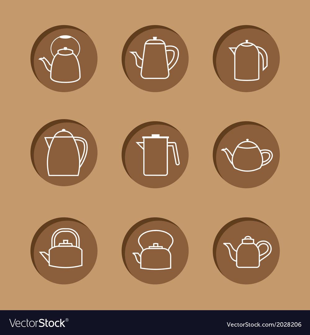 Flat design kettles icon set vector | Price: 1 Credit (USD $1)