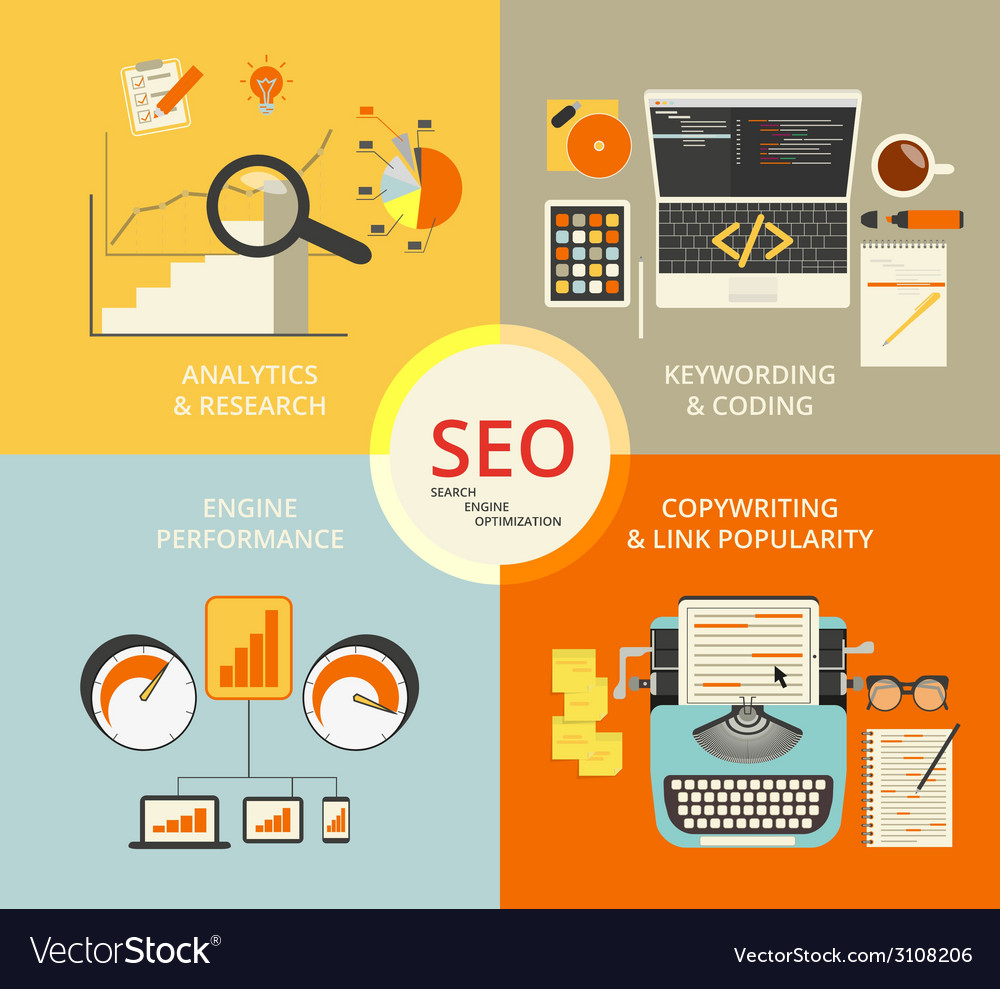 Infographic flat concept of seo vector | Price: 1 Credit (USD $1)