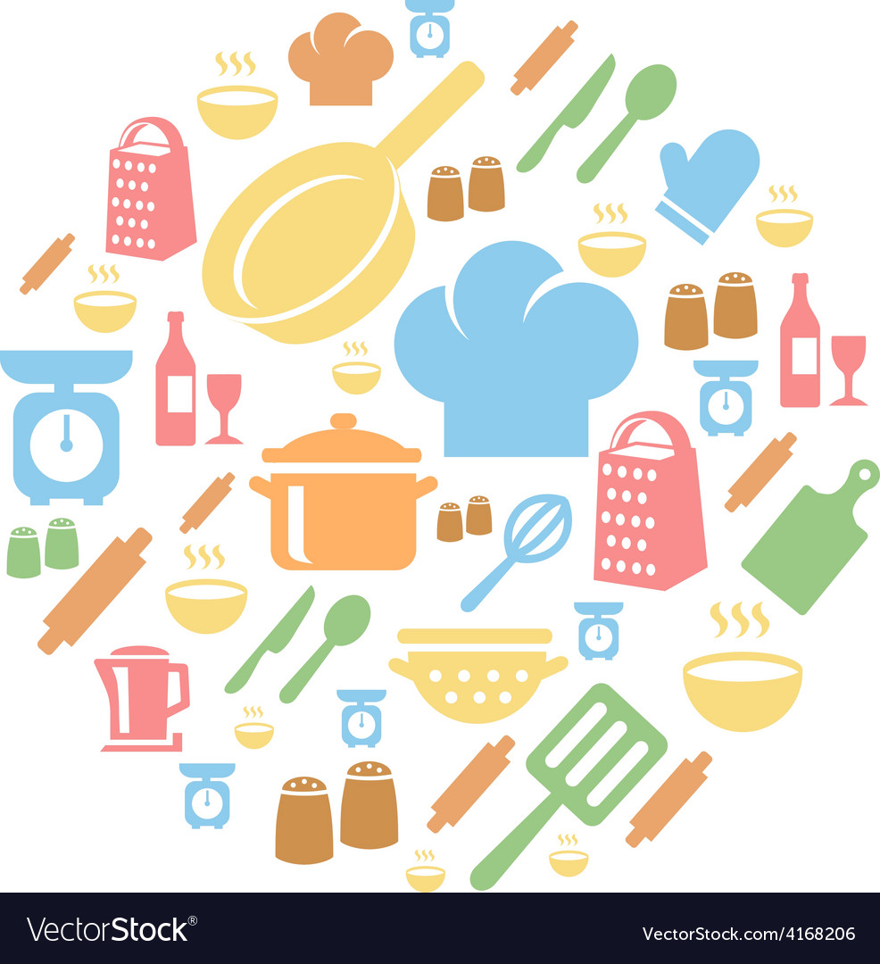 Kitchen and cooking icons background vector | Price: 1 Credit (USD $1)