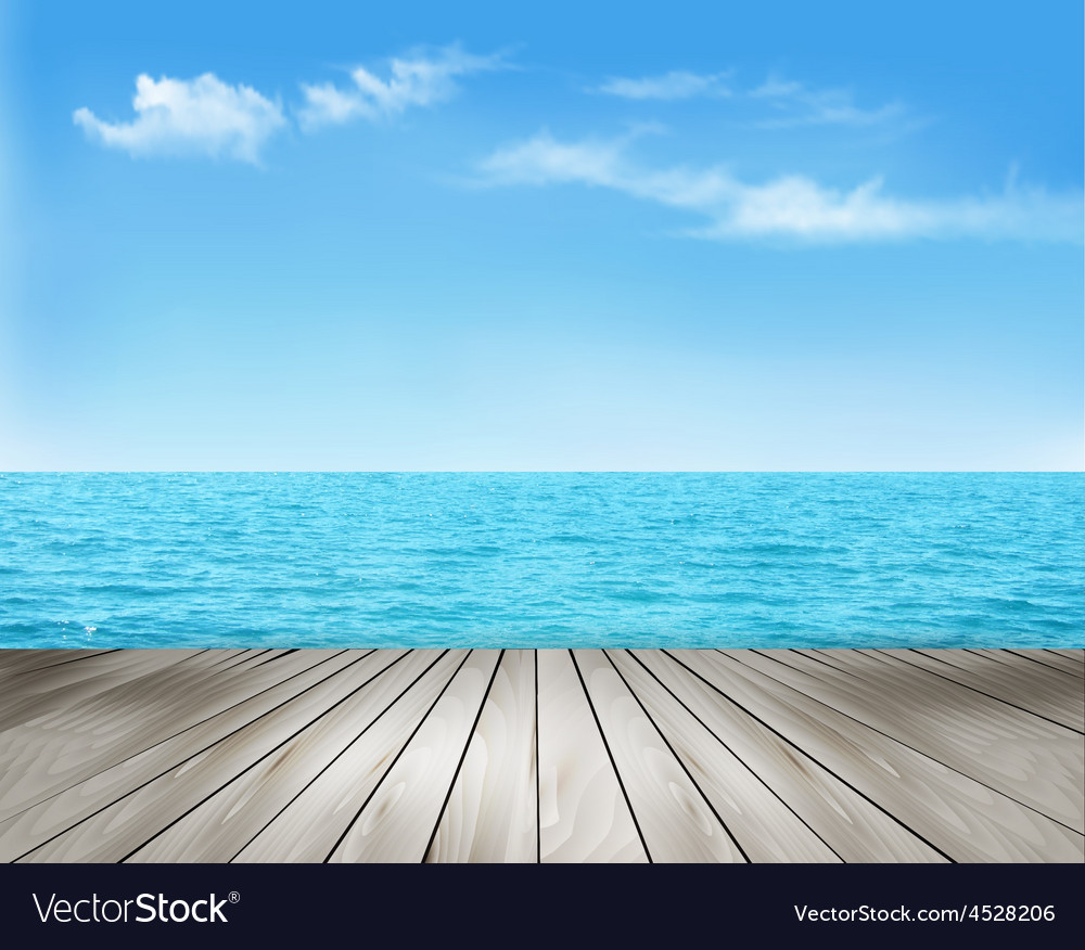 Nature background with a wooden deck the sea and vector | Price: 3 Credit (USD $3)