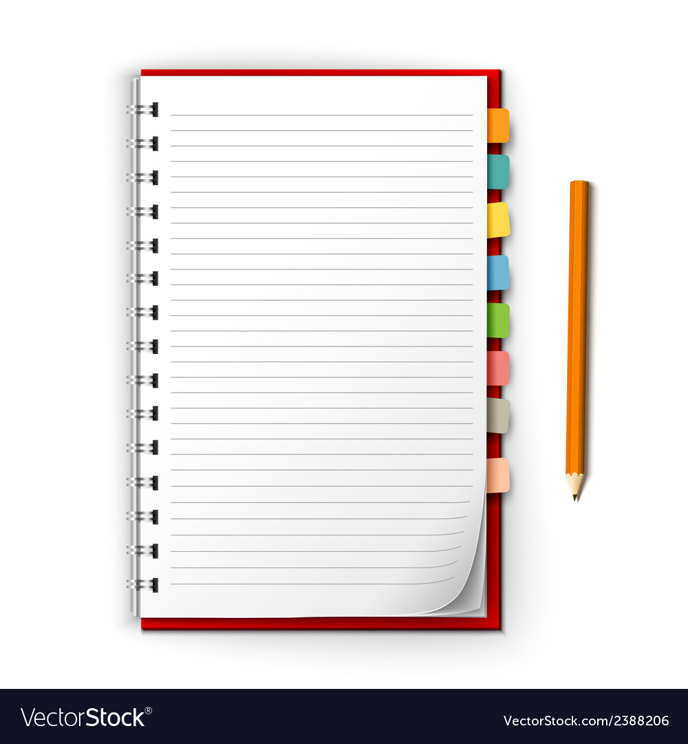 Notepad with reminders and pencil vector | Price: 1 Credit (USD $1)