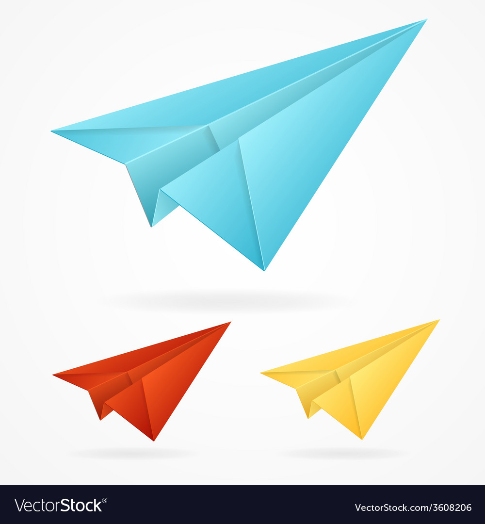 Origami paper blue airplanes set on white vector | Price: 1 Credit (USD $1)