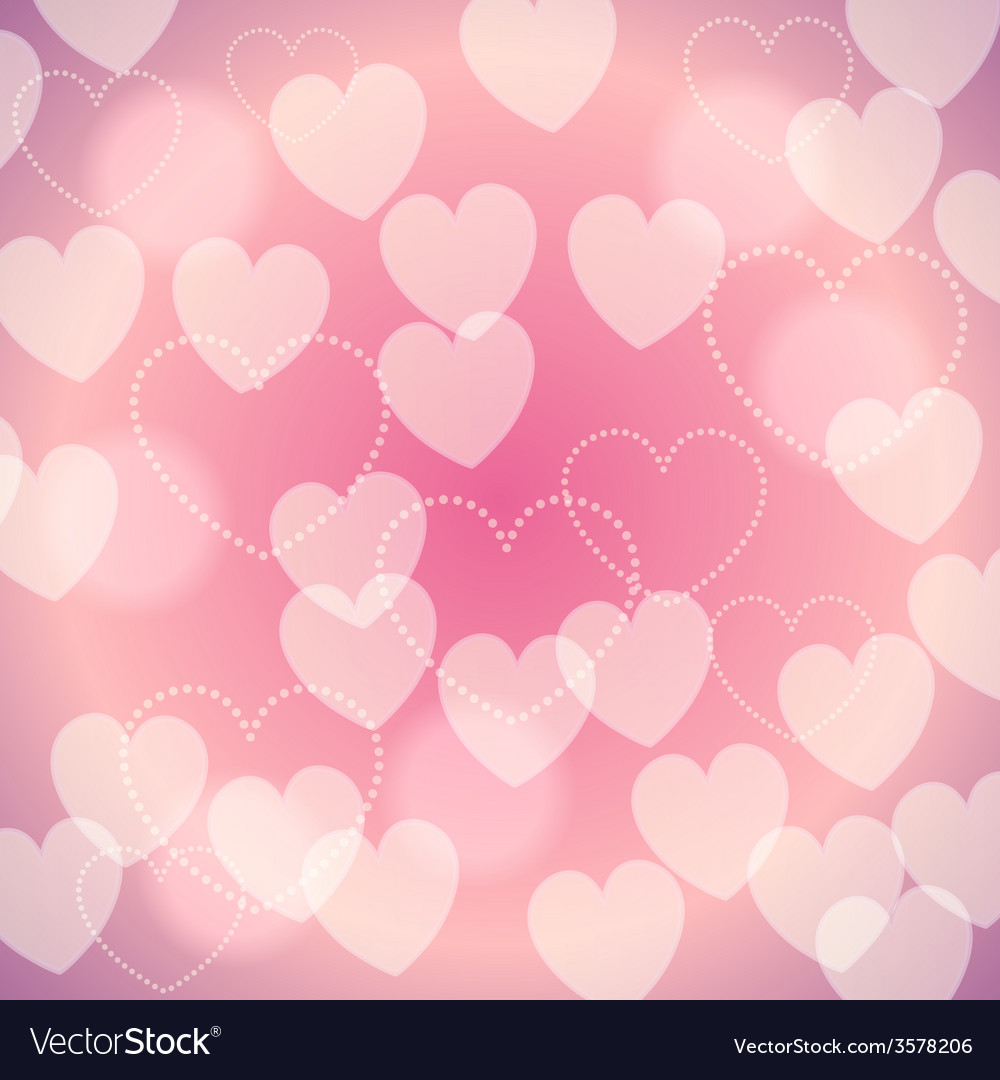 Pink romantic blurred background with bokeh hearts vector | Price: 1 Credit (USD $1)