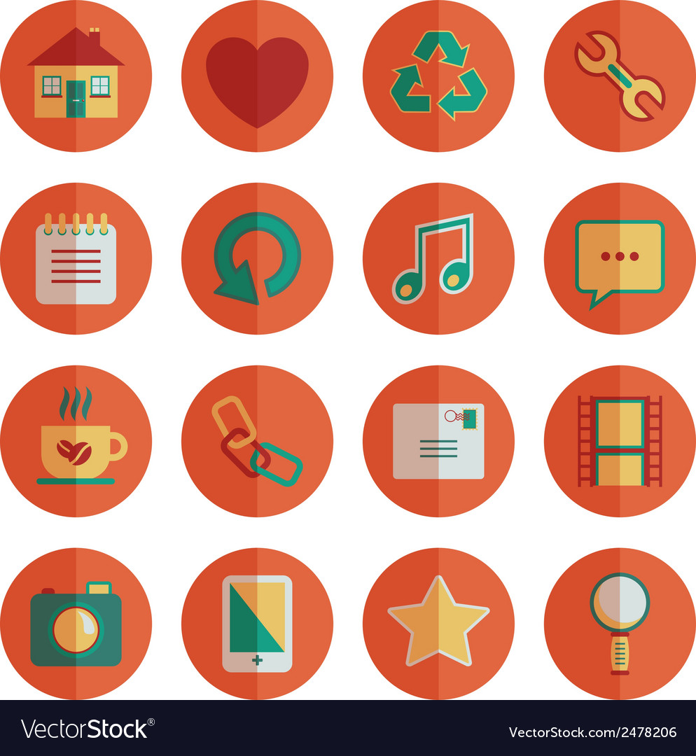 Round media icons vector | Price: 1 Credit (USD $1)