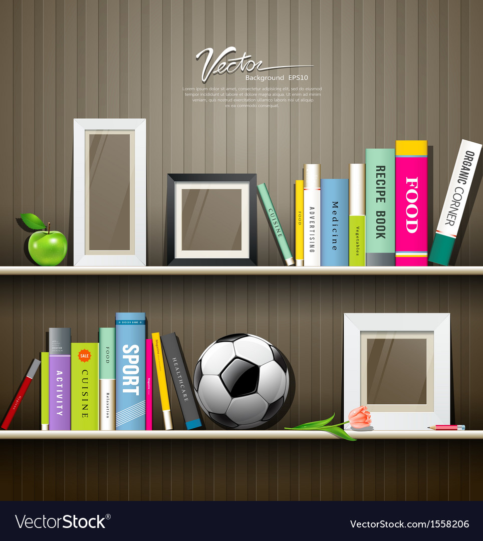 Row of colorful books on shelf vector | Price: 1 Credit (USD $1)
