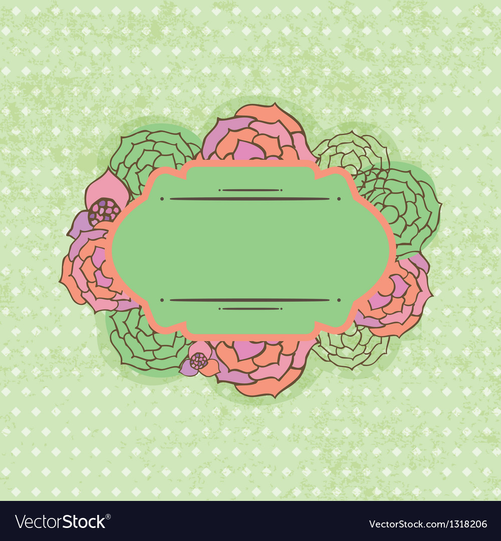 Vintage frame on floral background vector | Price: 1 Credit (USD $1)