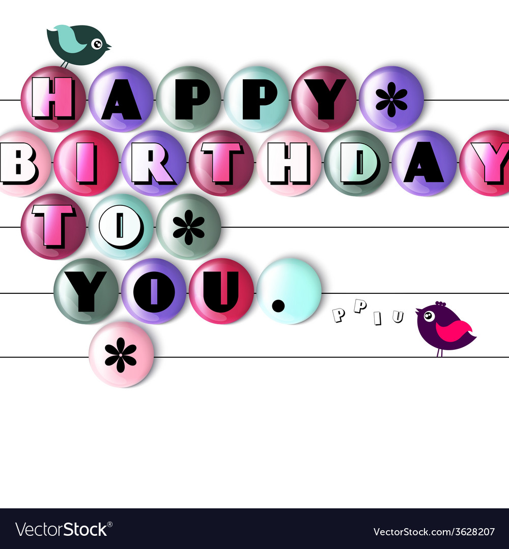 Birthday card with color candy and text vector   Price: 1 Credit (USD $1)