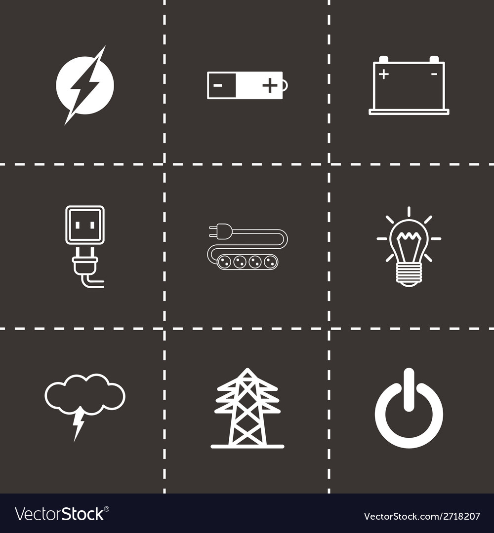 Black electricity icons set vector | Price: 1 Credit (USD $1)