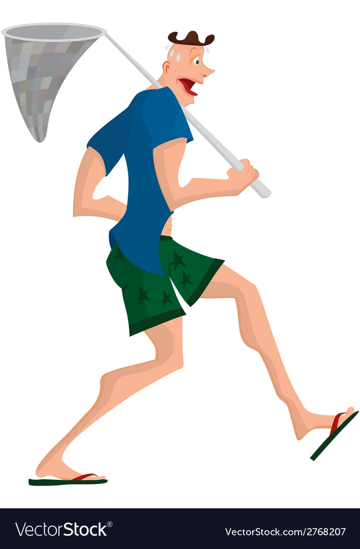 Cartoon man walking with butterfly net vector | Price: 1 Credit (USD $1)