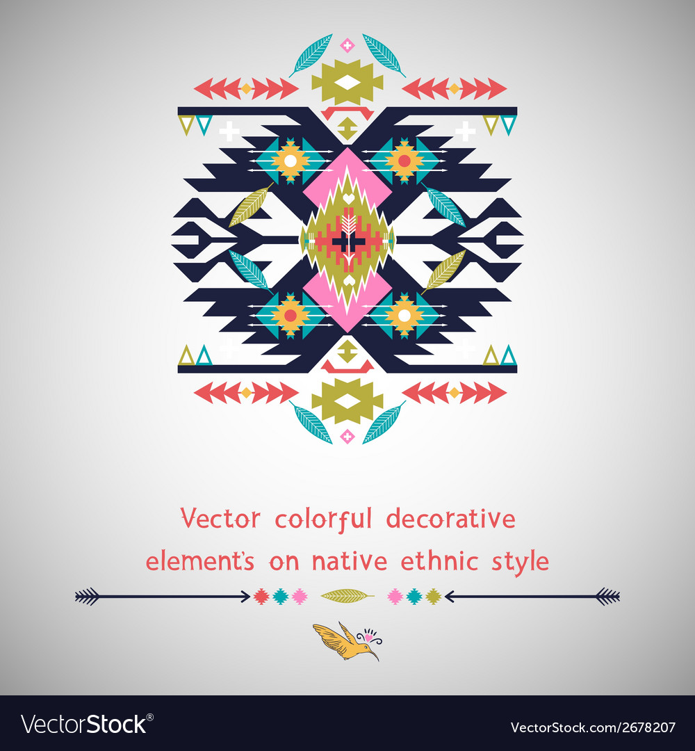 Decorative element on native ethnic style vector | Price: 1 Credit (USD $1)
