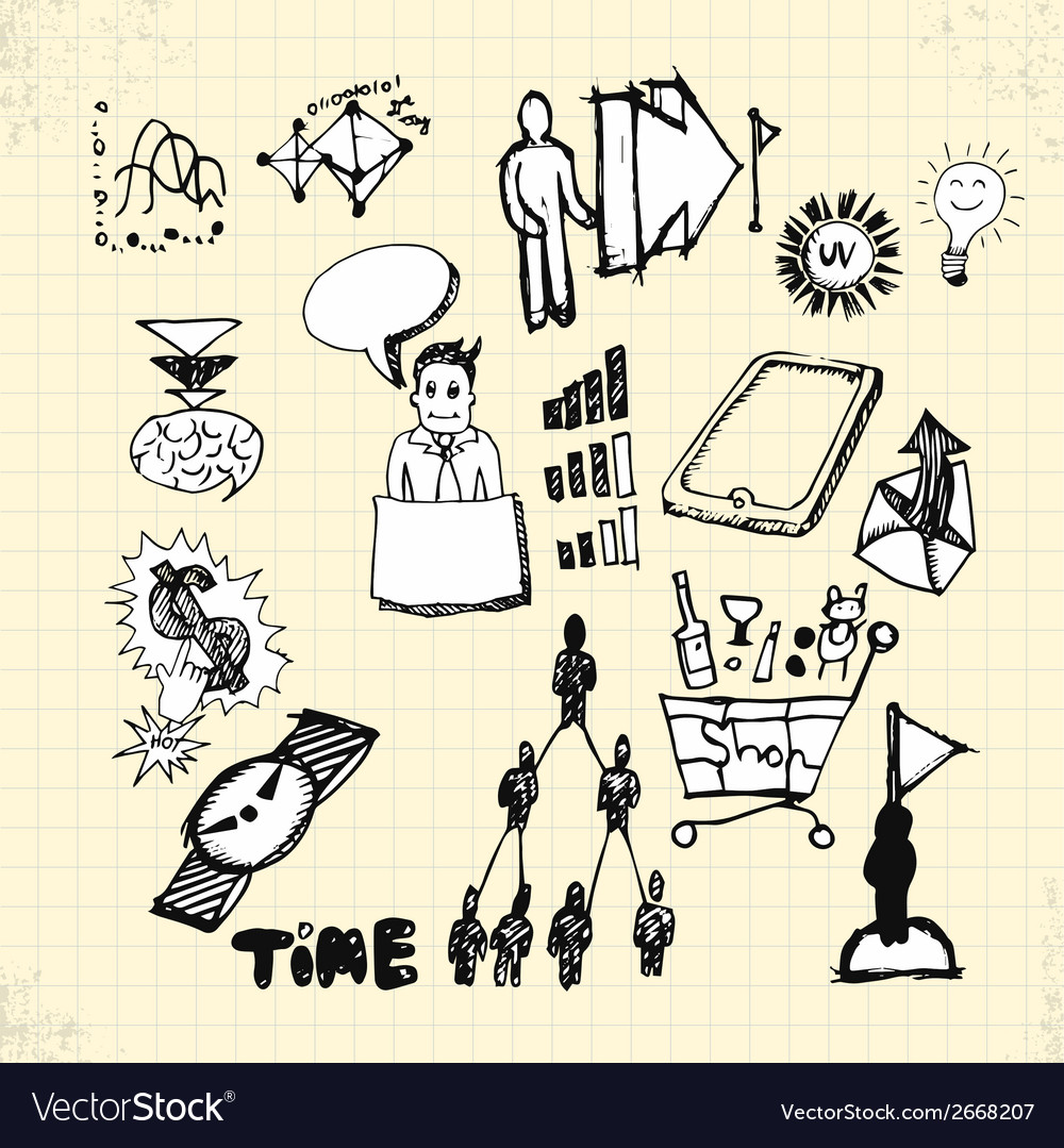 Doodle business on paper vector | Price: 1 Credit (USD $1)