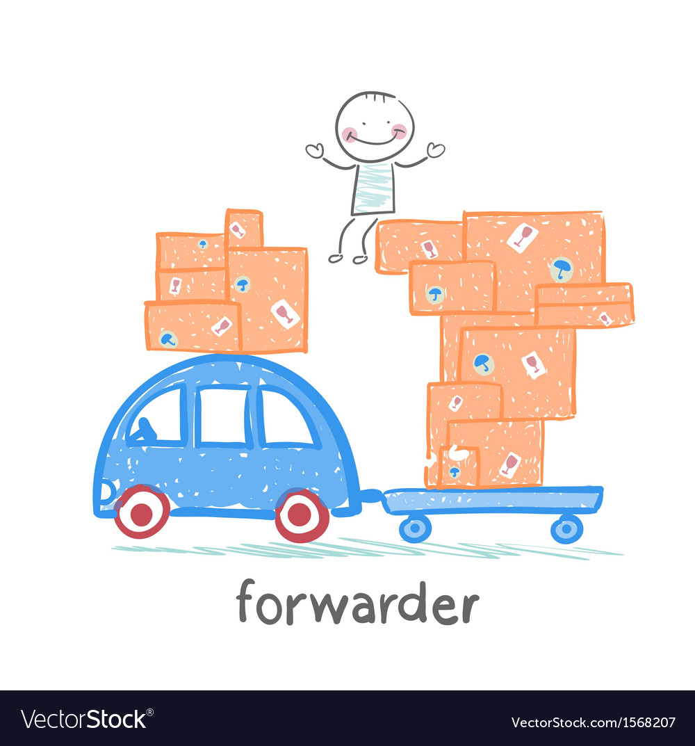 Forwarder rides on a machine that carries boxes vector | Price: 1 Credit (USD $1)