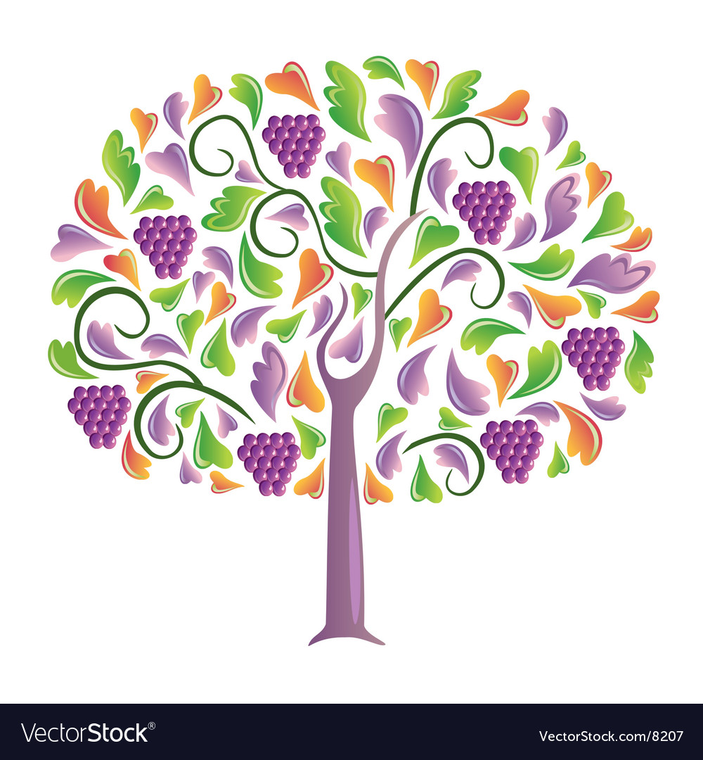 Grapes tree vector | Price: 1 Credit (USD $1)