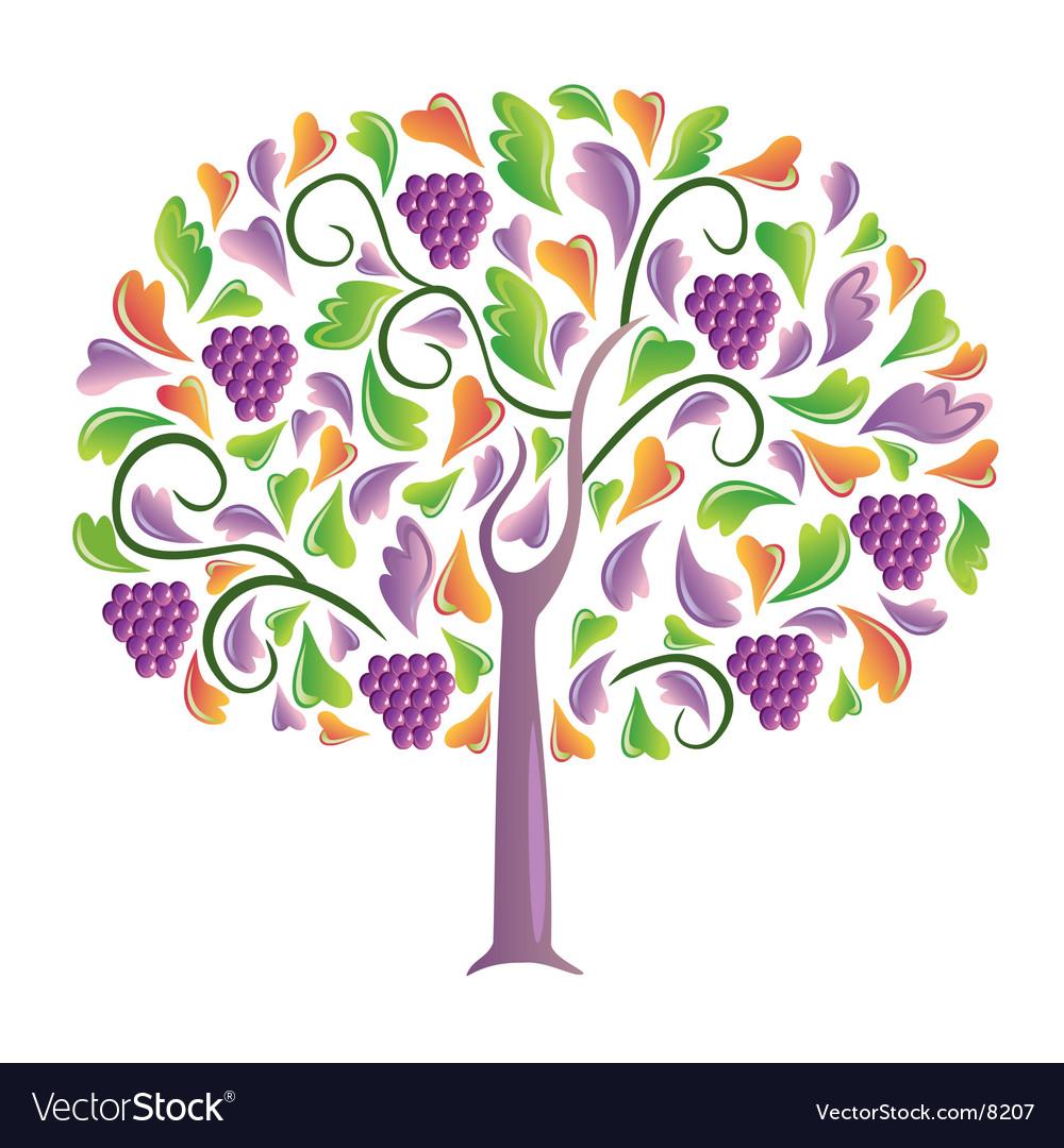 Grapes tree vector | Price: 1 Credit (USD $1)