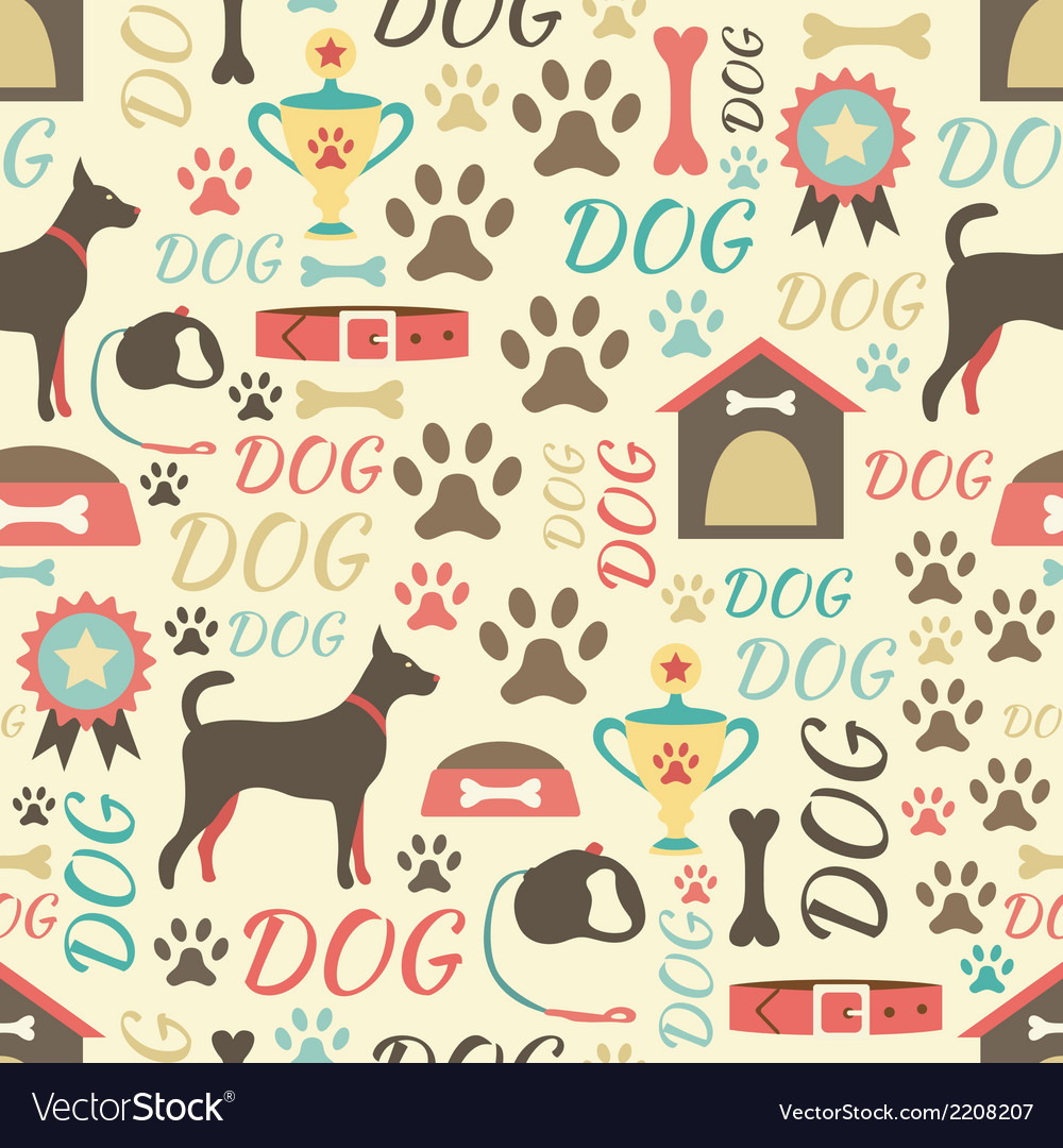 Retro seamless pattern of dog icons endless vector | Price: 1 Credit (USD $1)