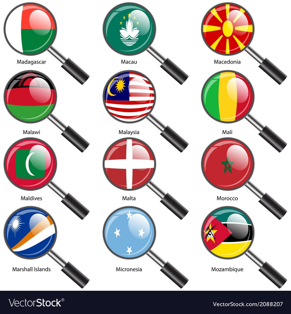 Set flags of world sovereign states magnifying vector | Price: 1 Credit (USD $1)