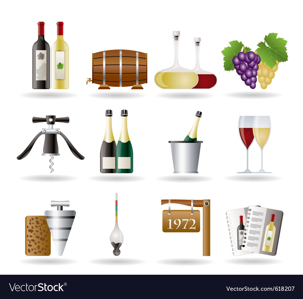 Wine and drink icons vector | Price: 3 Credit (USD $3)
