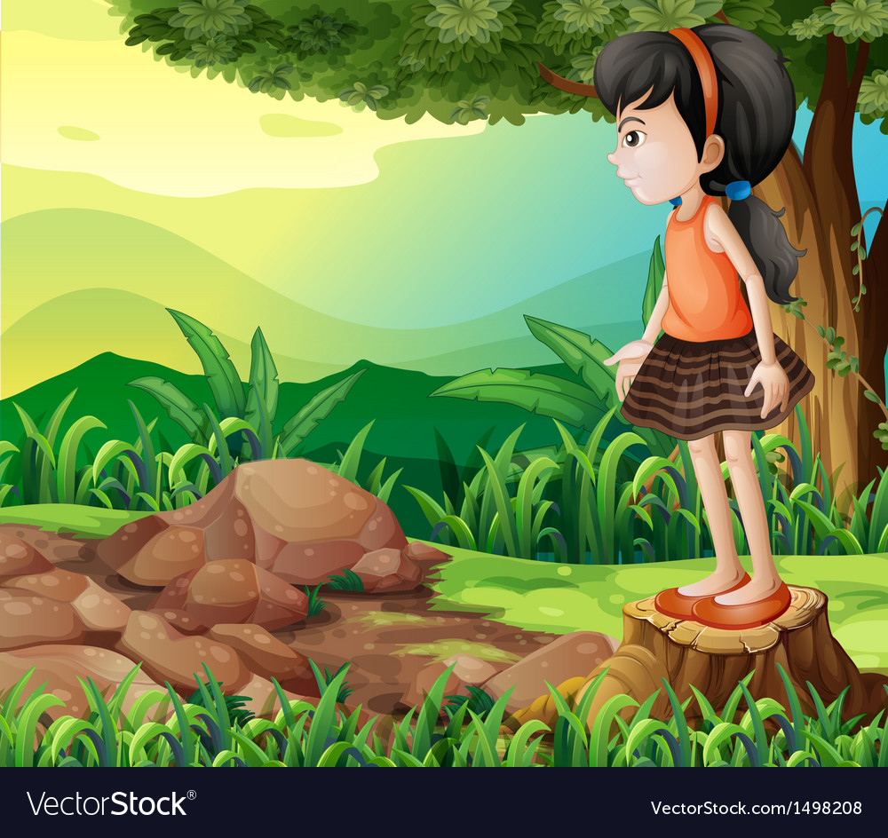 A little girl standing above the stump vector | Price: 1 Credit (USD $1)