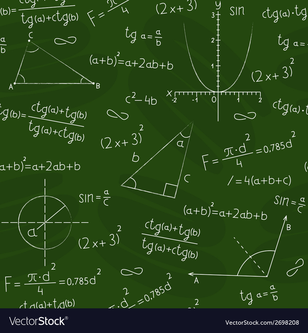 Blackboard with geometric shapes and formulas vector | Price: 1 Credit (USD $1)