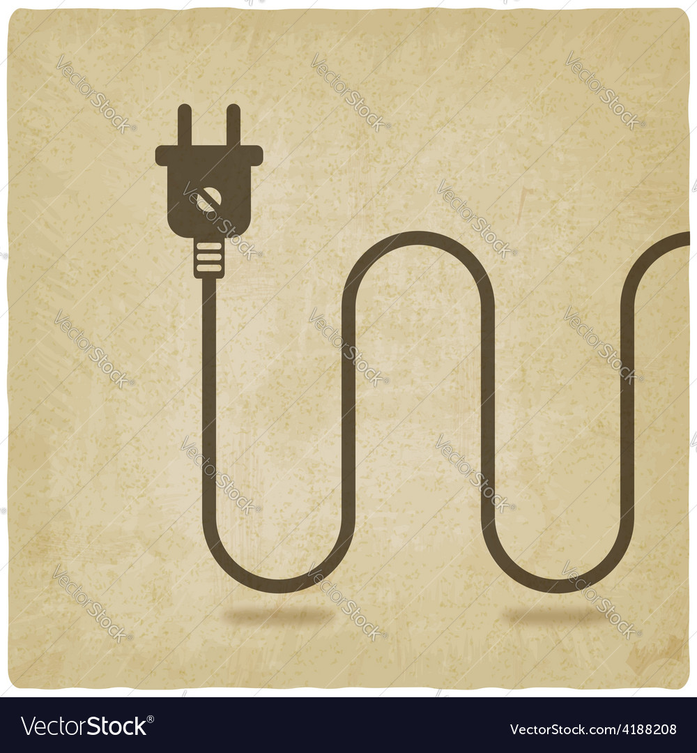 Electric wire with plug old background vector | Price: 1 Credit (USD $1)