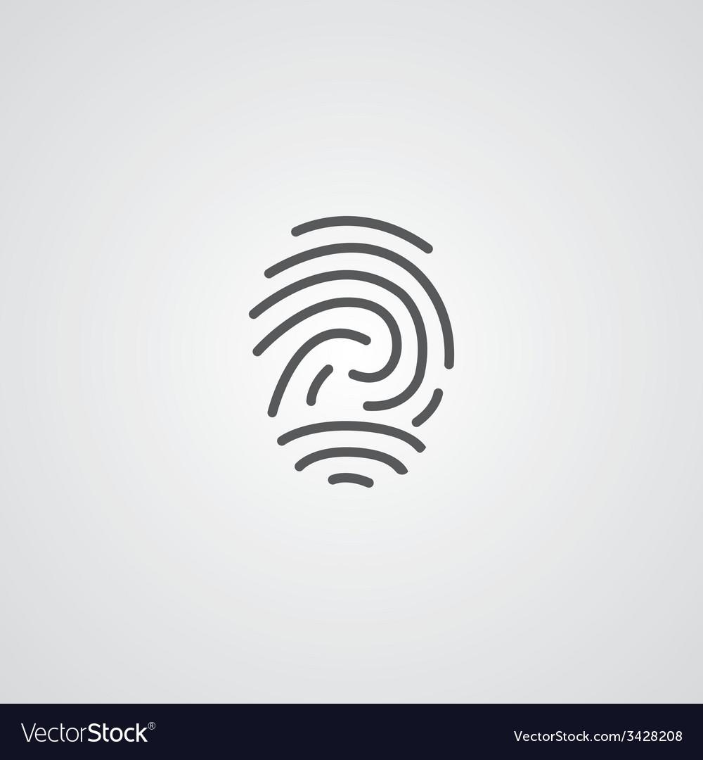 Fingerprint outline symbol dark on white vector | Price: 1 Credit (USD $1)