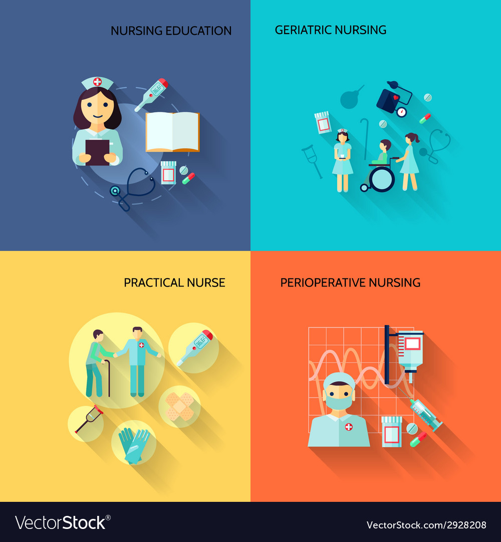 Nurse icon set flat vector | Price: 1 Credit (USD $1)