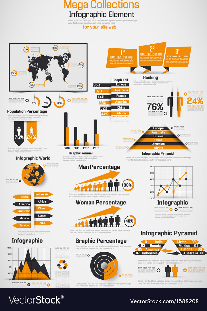 Retro infographic demographic world map elements vector | Price: 1 Credit (USD $1)