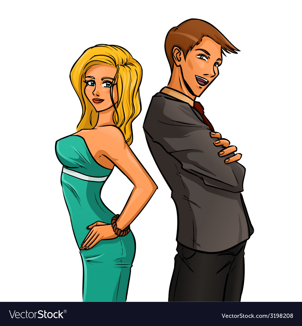 Self-confident woman and man vector | Price: 1 Credit (USD $1)