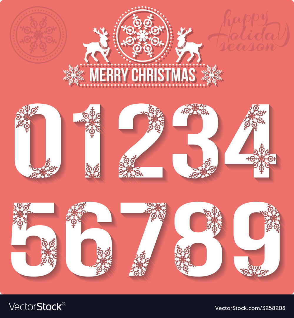 Set of christmas stylized numbers with snowflakes vector | Price: 1 Credit (USD $1)