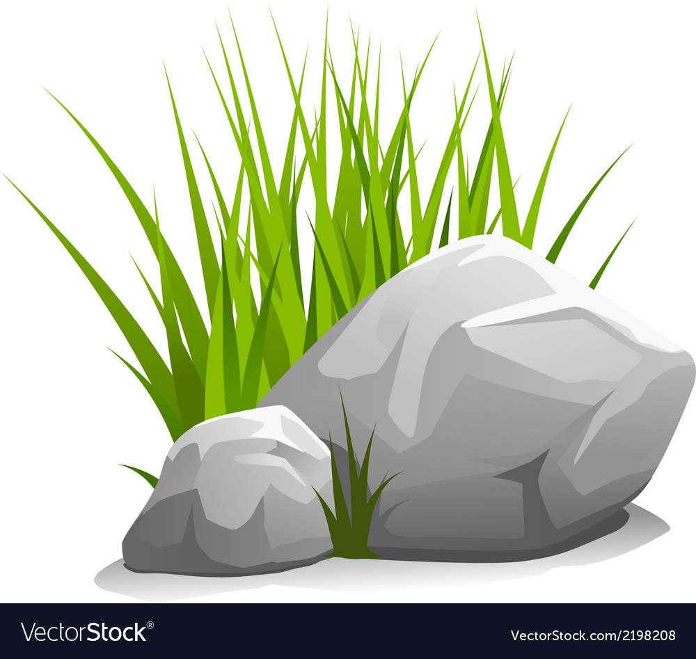 Stones with grass vector | Price: 1 Credit (USD $1)