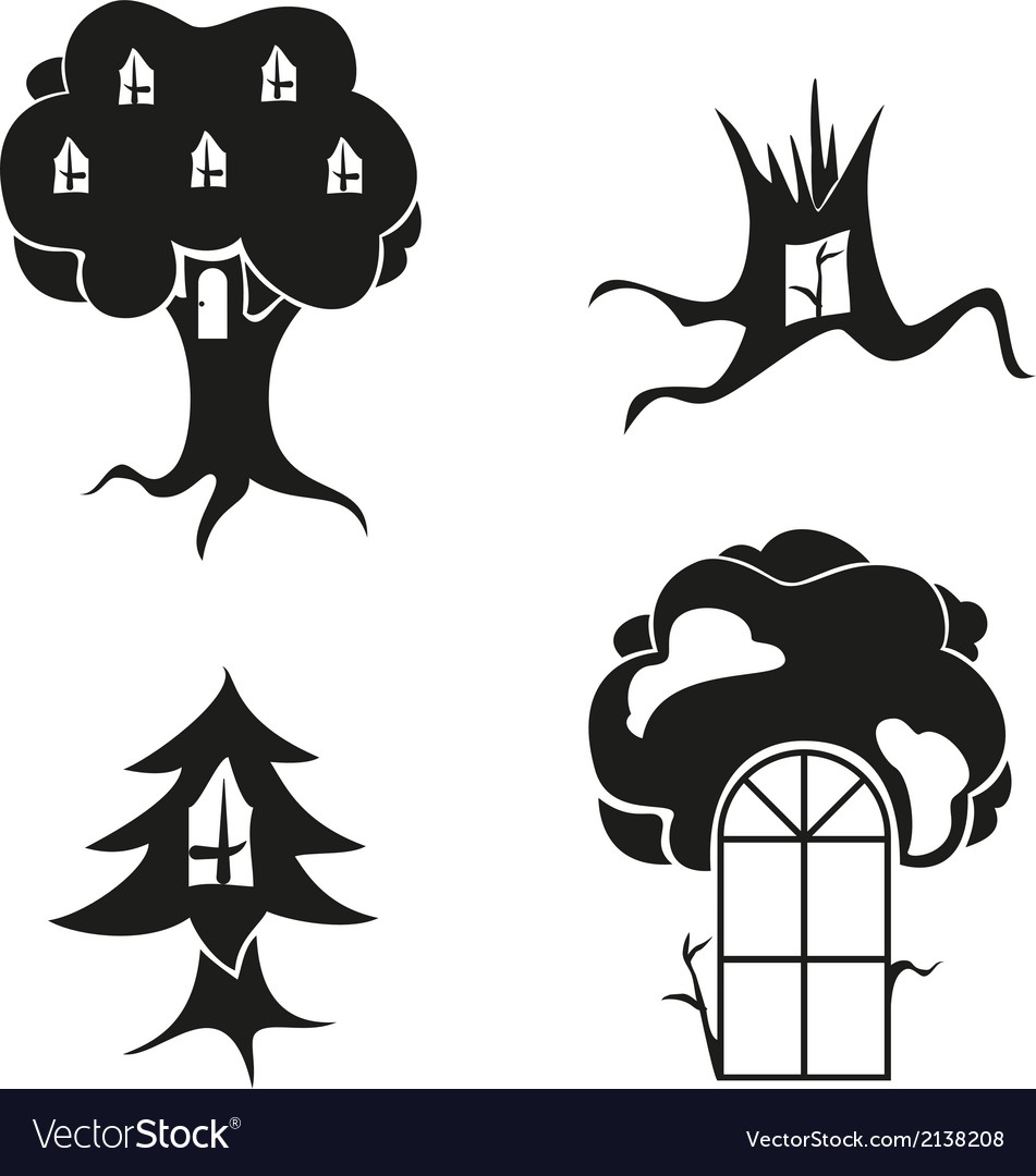 Stylized image of trees with windows and doors vector | Price: 1 Credit (USD $1)